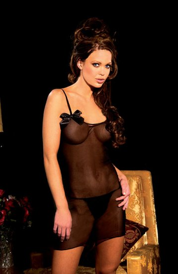 Mesh dress rose applique and g-string