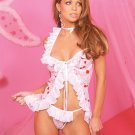 Mesh halter babydoll with underwire cups