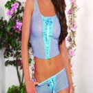 Mesh camisole with eyelet trim and satin ribbon lace up front