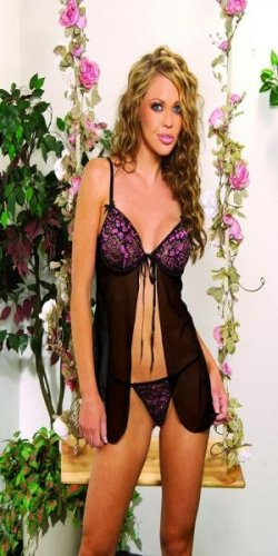 Beautiful embroidered mesh underwire babydoll with satin tie