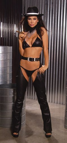 Womens leather chaps with belt buckle closure