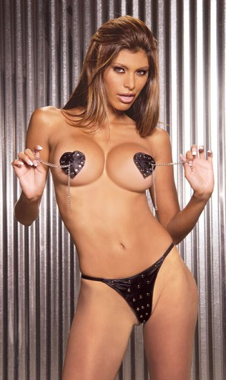 2 pc leather pasties with tassles and studs with matching g-string