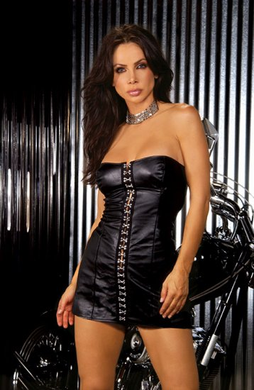 Strapless leather mini dress with hook and eye front