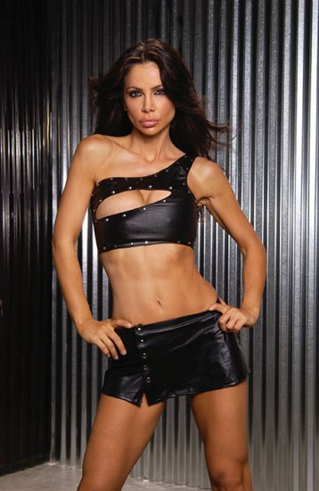 Low rise leather mini skirt with front snaps