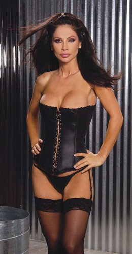 Leather strapless corset with hook and eye front detail and boning. adj and detach garters