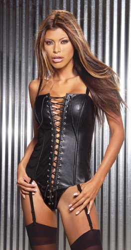 Leather corset with lace up detail and boning. adj and detach garter
