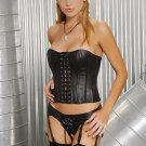 leather strapless corset with lace up front detail and boning