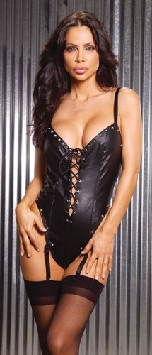 Leather thong back teddy with lace up front, adj and detachable garters