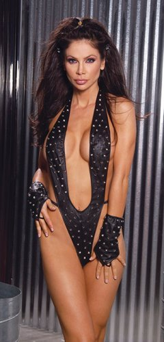 Leather suspender thong back teddy with studs