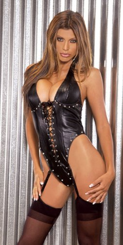 Lace up leather halter neck teddy underwire bra with stud details, thong bk, adj, & detach. garters