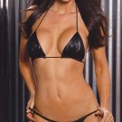 2 pc leather string bra top and matching gstring