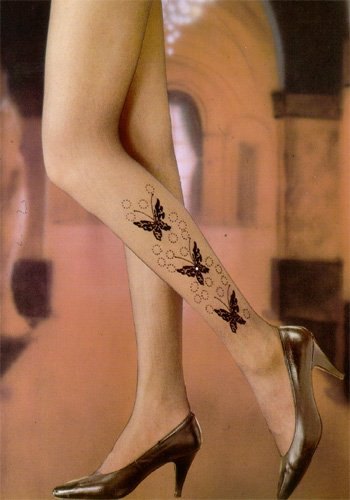 Pantyhose with flocked butterfly design with rhinestone