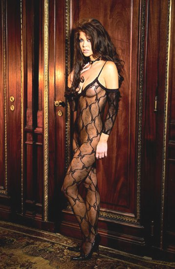 Bow tie lace body stocking with attached sleeves and open crotch