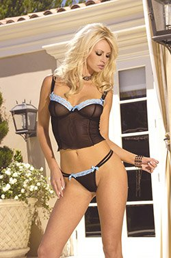 Mesh cami top with lace trim and satin ties at the bodice......