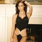mesh halter style teddy with ruched front and rhinestone clip and thong back
