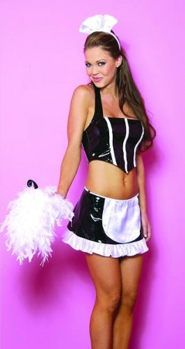 3 pcs vinyl french maid costume