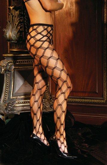 Seamless diamond lace pantyhose
