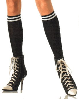 Opaque double striped knee highs