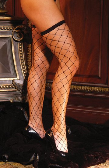 Big diamond net thigh high with lace top
