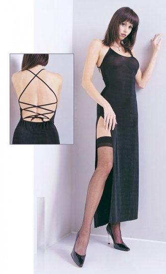 Slinky long dress with lace up back