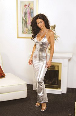 Seductive long slip dress with slit in lycra lame