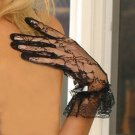 Wrist lenght lace up gloves with ruffles