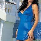 Wet look slinky halter mini dress