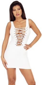 Sizzling lace up front corset dress