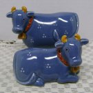 VINTAGE OTAGIRI JAPAN HAND CRAFTED  BLUE COWS SALT AND PEPPER