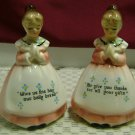 Vintage Enesco Praying Ladies Salt & Pepper-Orignal Stickers and Stoppers!