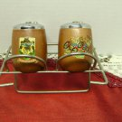 Vintage Combination Salt and Pepper set- Brass Stand