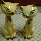 Enesco Japan Peach Siamese Cats Salt Pepper Rhinestones
