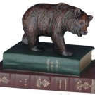 Sculpture Statue Bear on 2 Books Red Green Painted White Cast Resin New D OK-223 FREE SHIPPING*