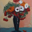 Flowers in a vase - floral painting oil on canvas