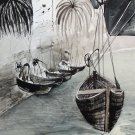 Boats - black and white seascape by Denitsa Kaneva