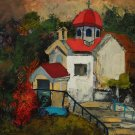 Church - landscape oil on canvas by Denitsa Kaneva