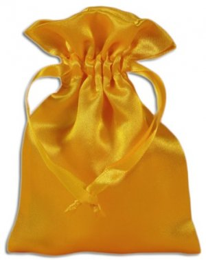 Yellow Satin Pouches (12 pcs)