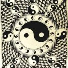 White and Black Ying Yang Tapestry