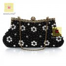 2013 Gorgeous Satin Moonflower Beaded Handcraft Evening Bag 3012#