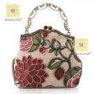 Embroidery Floral Beaded Royal Clutch Evening bags 7214#