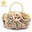 High Quality Vintage Satin Rose Evening Bag 989-3#