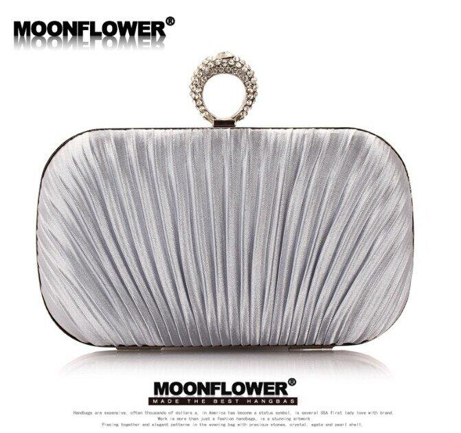 Designer Royal Satin Ruffles Rhinestones Bling Clutch Evening Bags For Women Online
