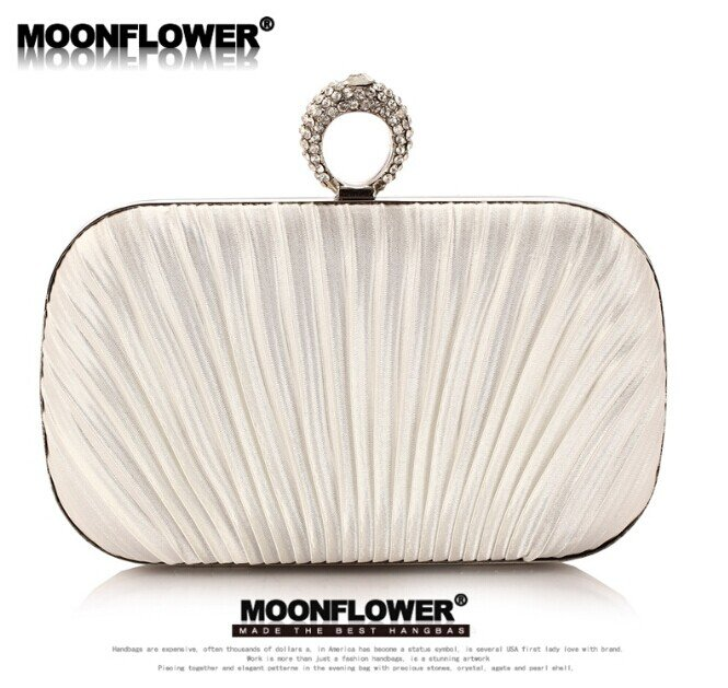 Designer White Satin Ruffles Rhinestones Bling Evening Bags For Women Online