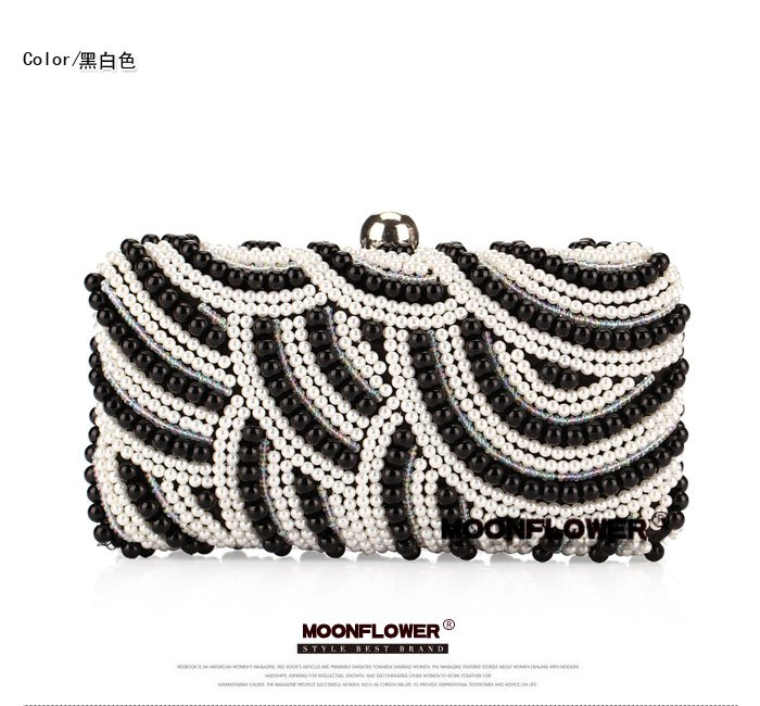 Sweet Pearl Embroidery Stripes Unique Clutch Bags Evening Bags For Women Online