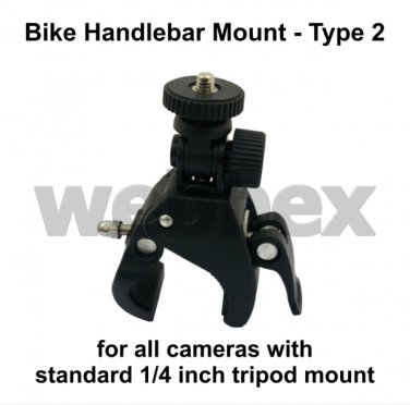 TYPE 2 HANDLEBAR MOUNT FOR ALL CAMERAS WITH STANDARD 1/4 INCH TRIPOD THREAD