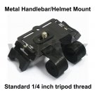 METAL HANDLEBAR/HELMET MOUNT FOR ALL CAMERAS WITH STANDARD 1/4 INCH TRIPOD THREAD