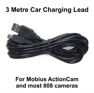 3 METRE CAR CHARGING CABLE FOR THE MOBIUS ACTIONCAM