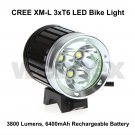 CREE XML 3xT6 LED 3800 LUMEN RECHARGEABLE BIKE LIGHT