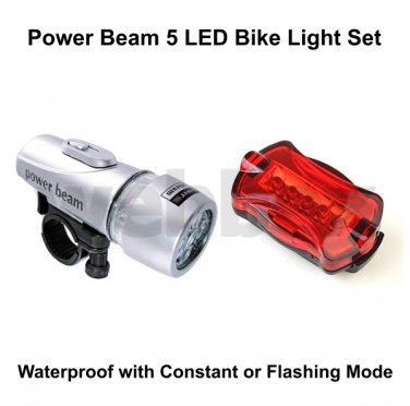 5 LED FRONT AND REAR BIKE LIGHT SET