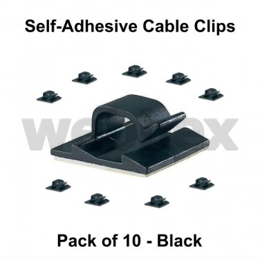 PACK OF 10 SELF-ADHESIVE CABLE CLIPS - BLACK